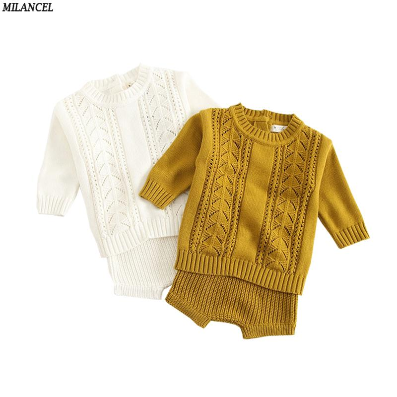 80e69213d427 2019 2018 Autumn Winter Baby Girl Clothes Set Knitted Boys Set  Sweaters+Shorts Kids Clothing Girls Cotton Knitted Suits Y1892707 From  Shenping02