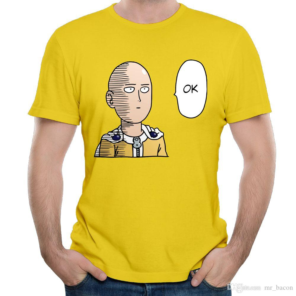 Camisa de manga corta para hombres Camisetas de cuello en O para niños Camiseta blanca de hombres Camisetas de tirantes One Punch Man OPM - Saitama Ok