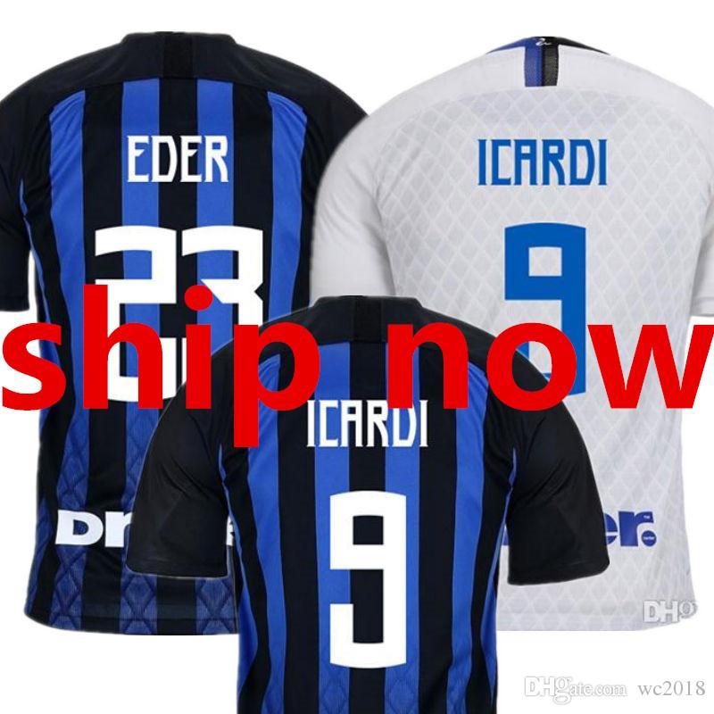 Compre New 18 19 Camisa De Futebol Inter De Milão Milan 2018 2019 Soccer  Jersey Casa Azul Preto Fora ICARDI EDER PERISIC BROZOVIC CANDREVA Camisetas  Camisa ... acfeaa87e7806