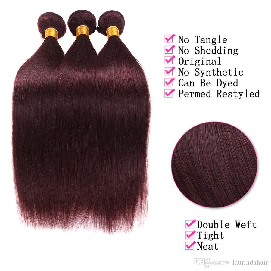9a Peruvian Brazilian Burgundy Virgin Hair With Lace Closure With Bundles Color 99J Wine Red Straight Hair Weaves