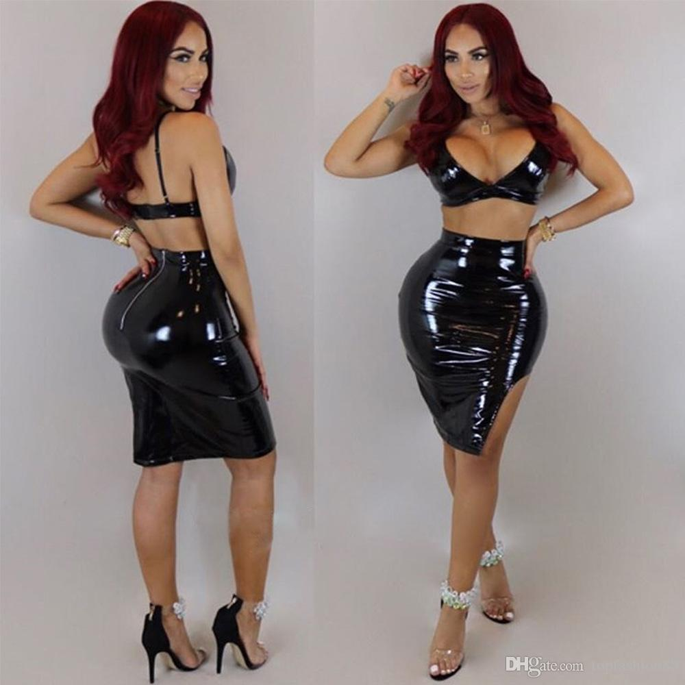 04fc6cea4113 2019 Women S Sets Bright PU Leather Sexy Club Slim Bra And Skirts ...