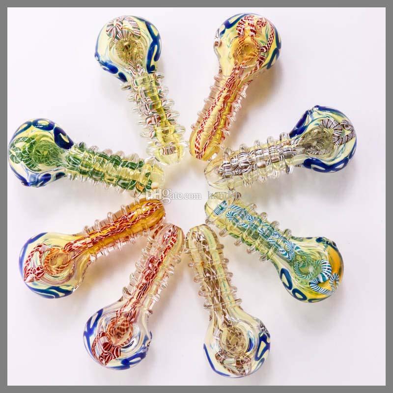 WHORL COULEUR VERRE PIPE verre fumant cuillère verre fumant Pipes 9.5cm 75g main tuyaux NOUVEAUX cuillères de conception