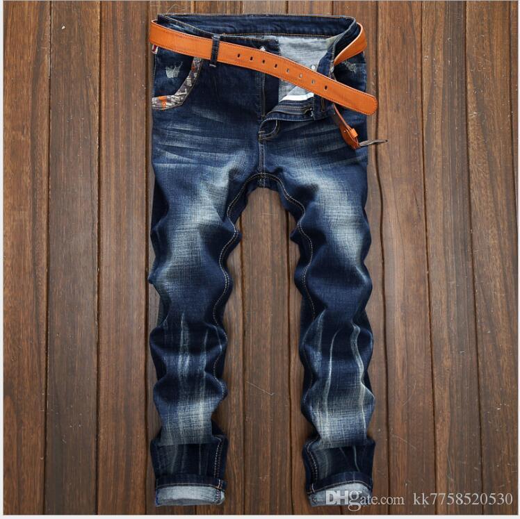 f28c2385dcd8f Acheter Bleu Clair Mode Hommes Jeans Style Classique Simple Denim Boutons  Pantalon Balplein Marque Jeans Hommes Slim Biker Jeans Homme De $45.69 Du  ...