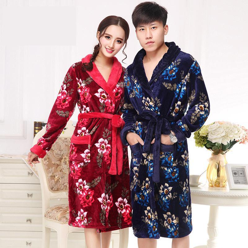 61943639fe 2019 Lovers Long Robe Winter Flannel Kimono Bathrobe Print Sleepwear Thick Warm  Women Men Home Dressing Gown Casual Night Dress From Tutucloth