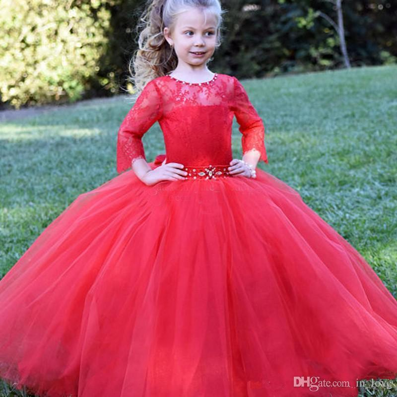 2b0c17f14ef9 Red Lace Princess Girls Pageant Dress Long Sleeve Crystals Belt Ball ...