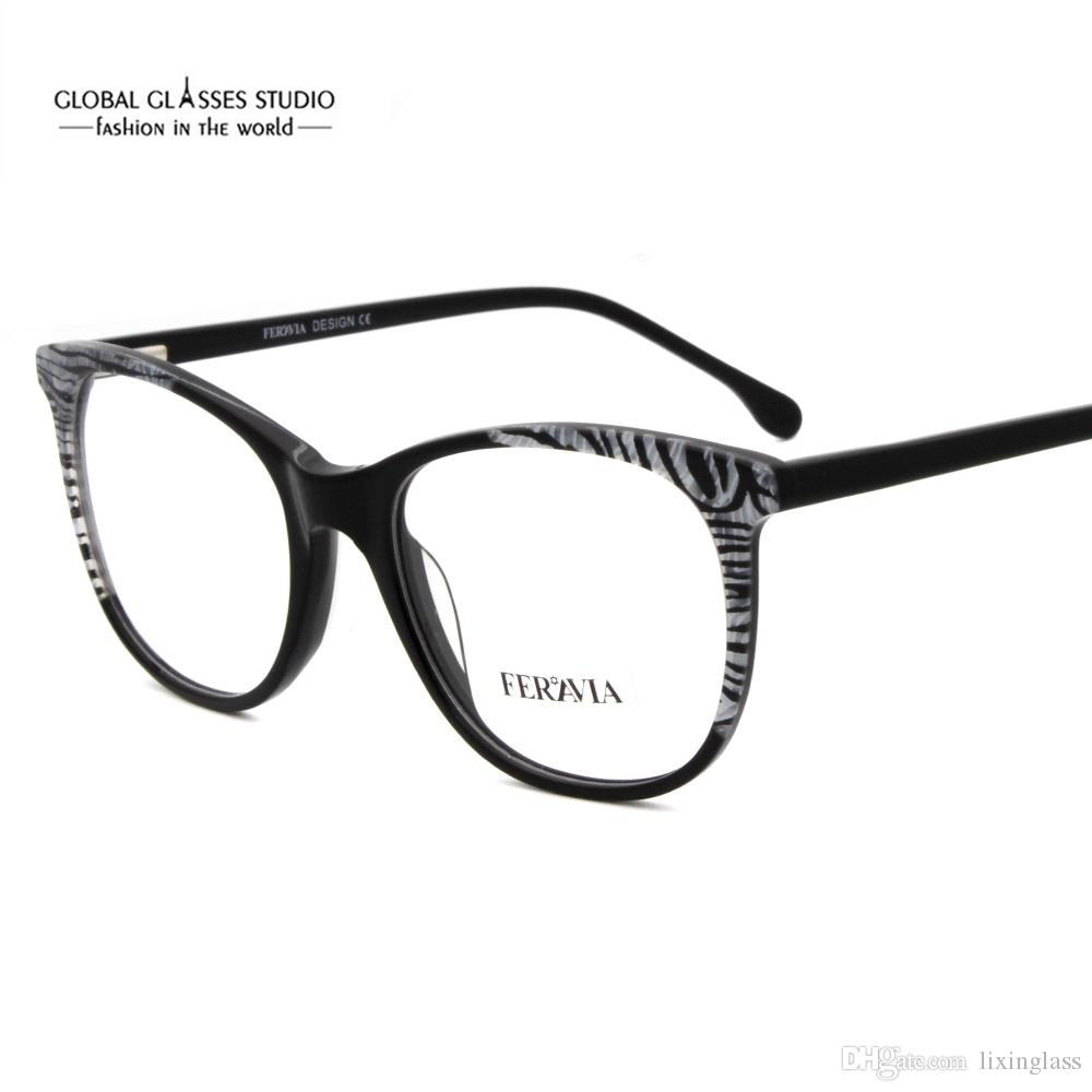 c1b8f0ec8 Compre Moda Francesa Design Colorido Óculos De Armação De Acetato Óculos  Preto Cinza Marrom Roxo Cor Mulheres Homens Óculos FVG7095 De Lixinglass,  ...