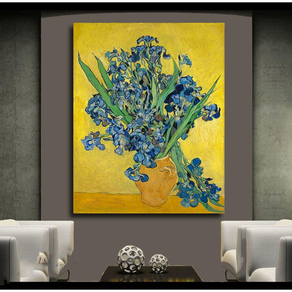 2018 Irises Flowers Print Wall Art Decor Oil Painting Canvas Wall ...