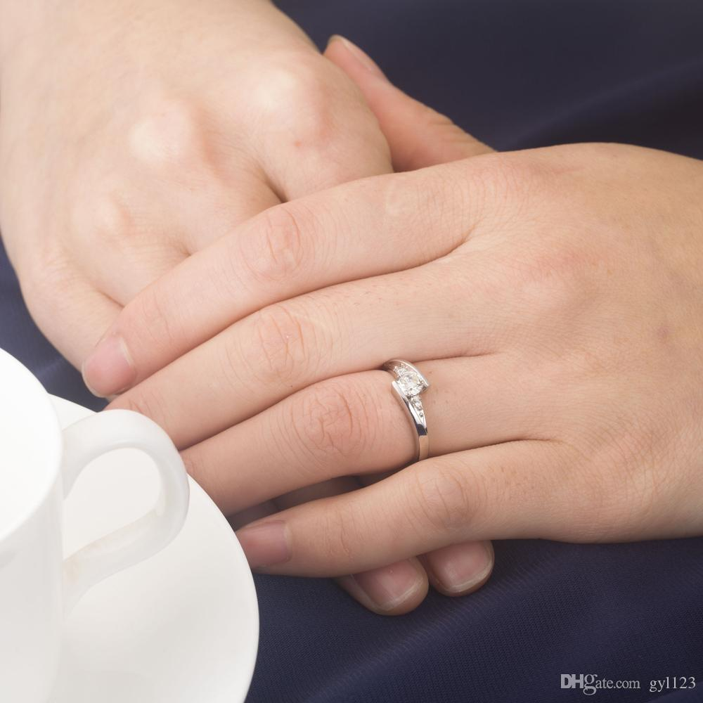 Romantic Design Star scintillanti anelli in oro sintetico da 1 ct in argento sterling