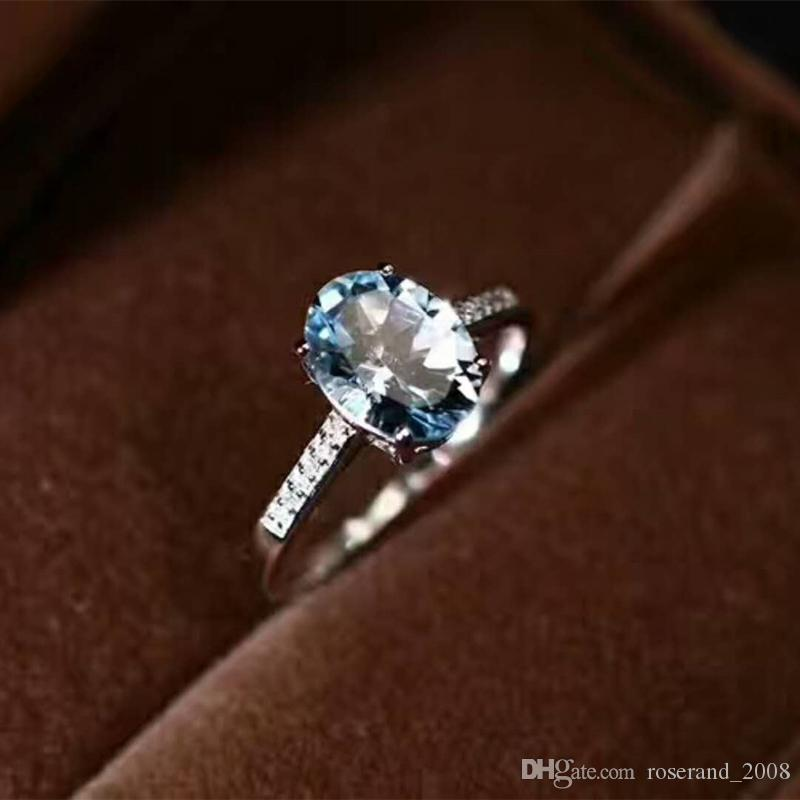 Brand New 925 Sterling Siilver 18K Gold Plated With Natural Aquamarine Ring For Women's Wedding Party Fashion Jewelry