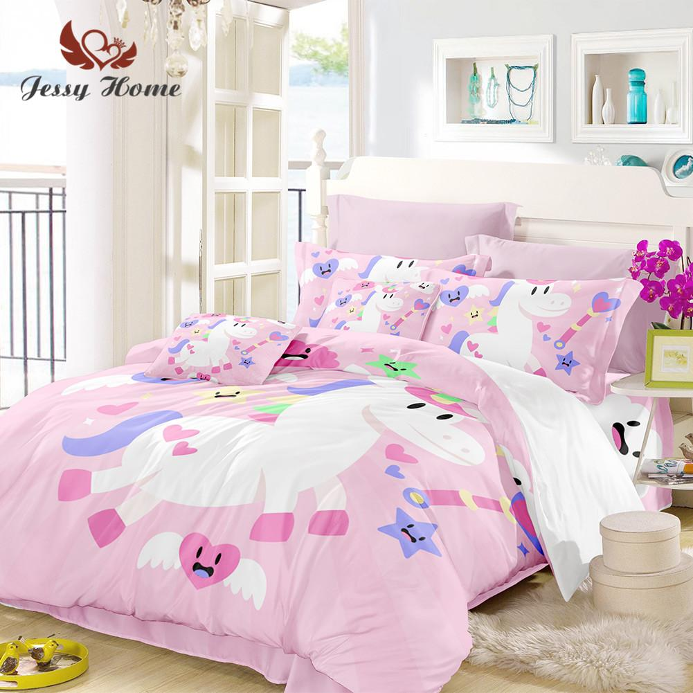 Unicorn Bedding Set Queen Size Pink Duvet Cover White Bed Set ...