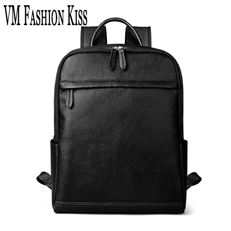 79141dee8f VM FASHION KISS Brand Waterproof Backpack Men Genuine Leather Business Laptop  Bag Backpacking Men S Backpacks For Teenager Male Backpack Brands Rucksack  ...