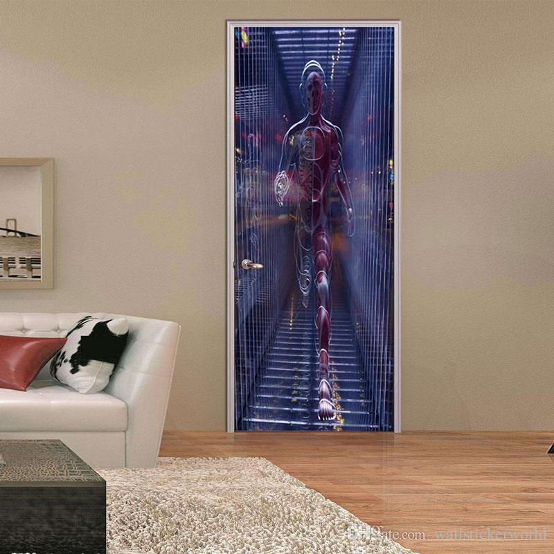 3D Three-Dimensional Space Wall Sticker Mural Quotes Bedroom Self-adhesive Door Stickers Home Decor