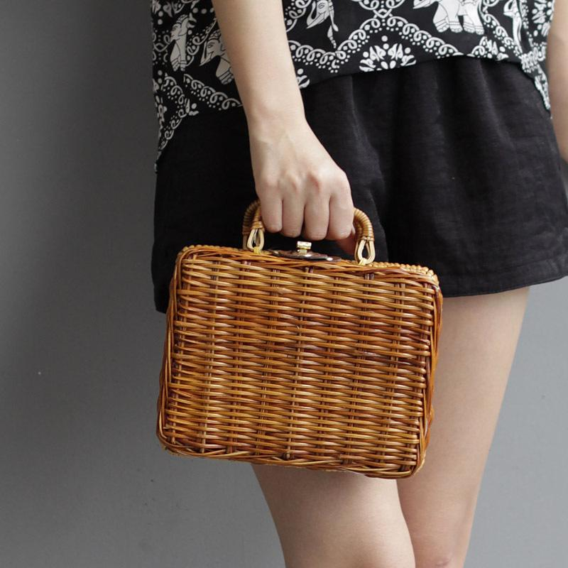 274e8f0bf4bb Summer Beach Bamboo Bag Straw Women Handbag Handmade Woven Bag ...