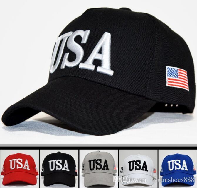 Hot Sale Embroidery Trump 2020 USA Flag Hat Make America Great Again Donald  Trump Baseball Cap Hats Baseball Caps Adults Sports Hat 03 Lids Hats Visors  From ... b9b22ec6a00