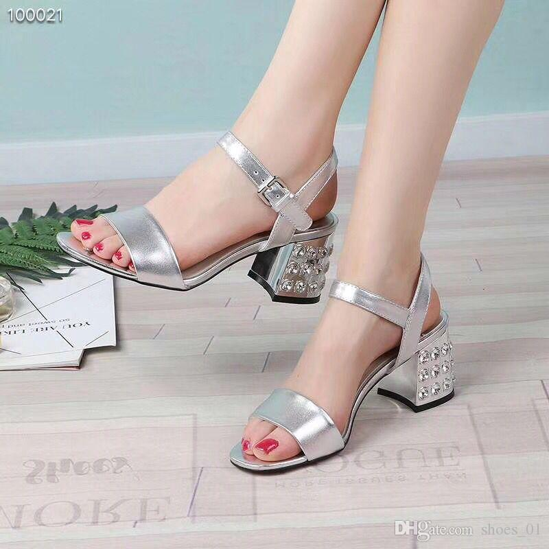 230dca1f2e108 With Box2018 New Design Quality Women S Fashion Leather Sandals Short Thick  Heels Black Silver School Girls Casual Outdoor Slides Shoe Bridal Shoes  Cheap ...