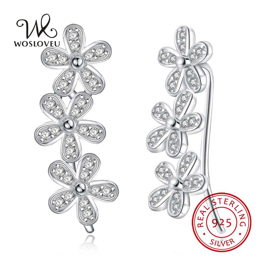 82384b67 Lujo Cubic Zirconia Prong Set 3-Ear Ear Cuff Hook Pendientes para mujer  Sterling 925 Silver Wedding Engagement Earring Regalo WSE56-PW