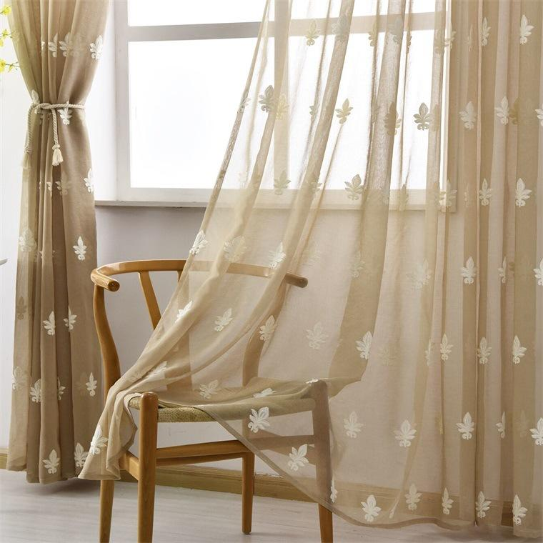 Sheer Curtains Floral Embroidered Voile Curtain Panels For