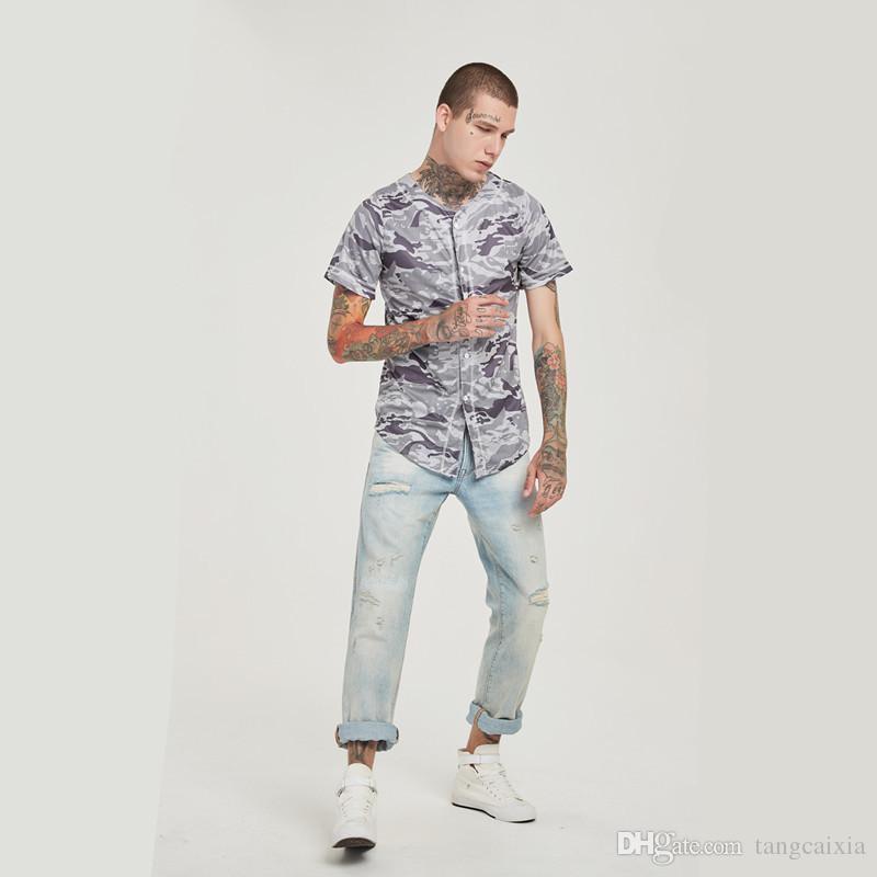 Wholesale Summer Men Tshirt Fashion Streetwear Hip Hop Baseball Jersey Camouflage Shirt Top Tee