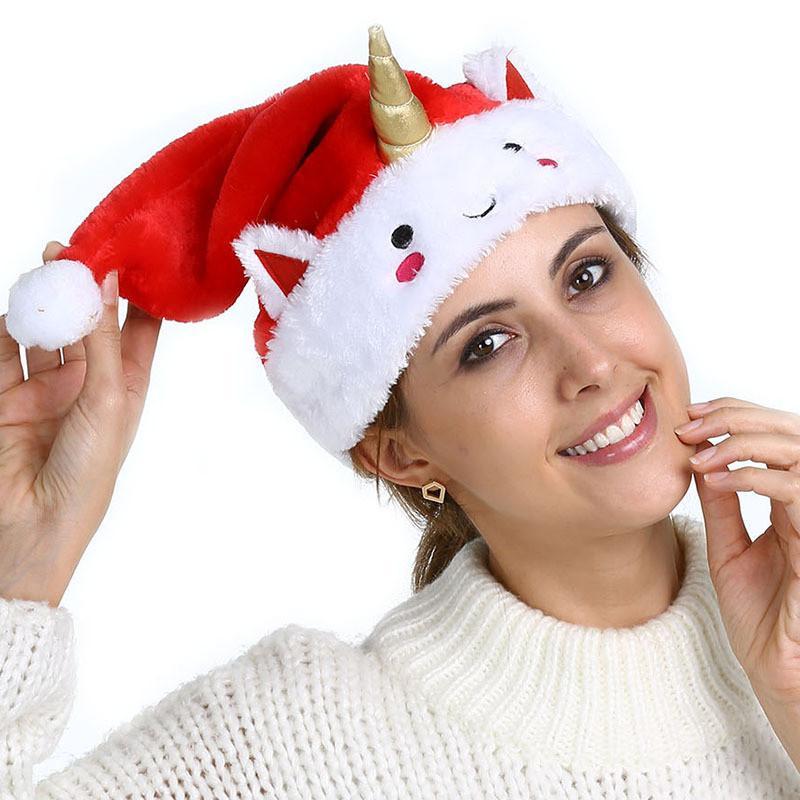 2018 Red Unicorn Christmas Hat Anime Cartoon Santa Claus Bonnet Xmas ...