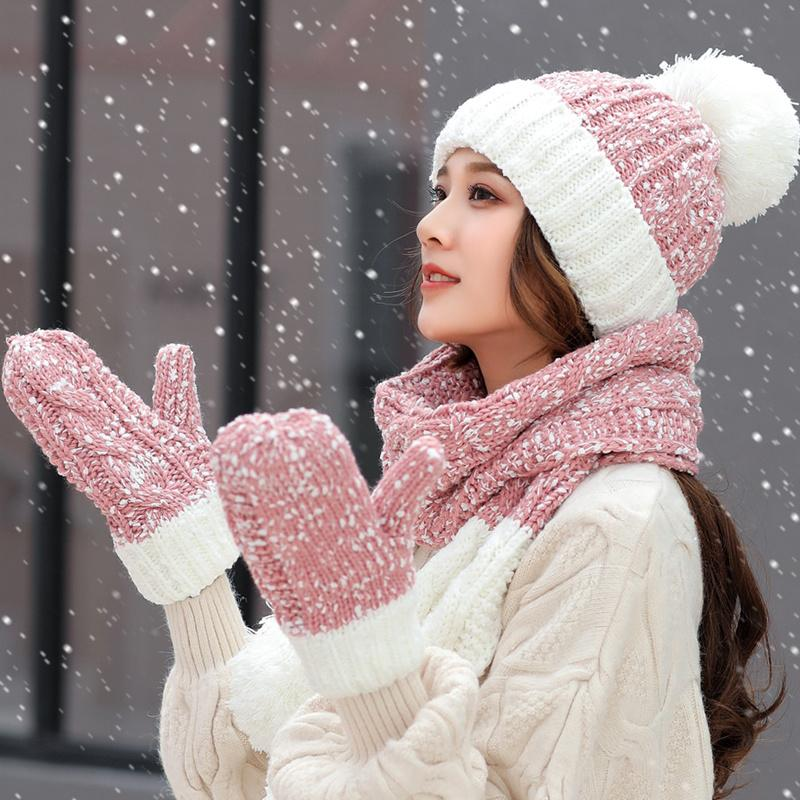 29dbf1de Women Winter Hats Cute Gloves Scarf Set Snowflake Thick Knitted Hat Female  Warm Skullies Beanies Caps For Girl Fitted Hats Straw Hats From  Fashionable16, ...