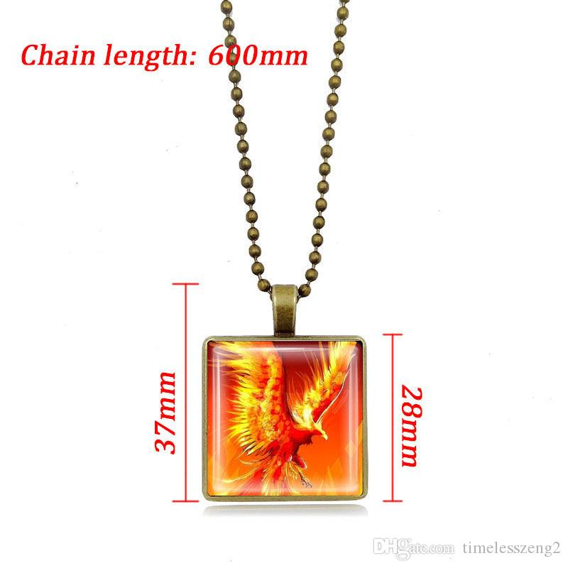 Flame phoenix Time Gem Cabochon necklace Restoring ancient pendant sweater chain Bronze silver 600mm chain jewelry