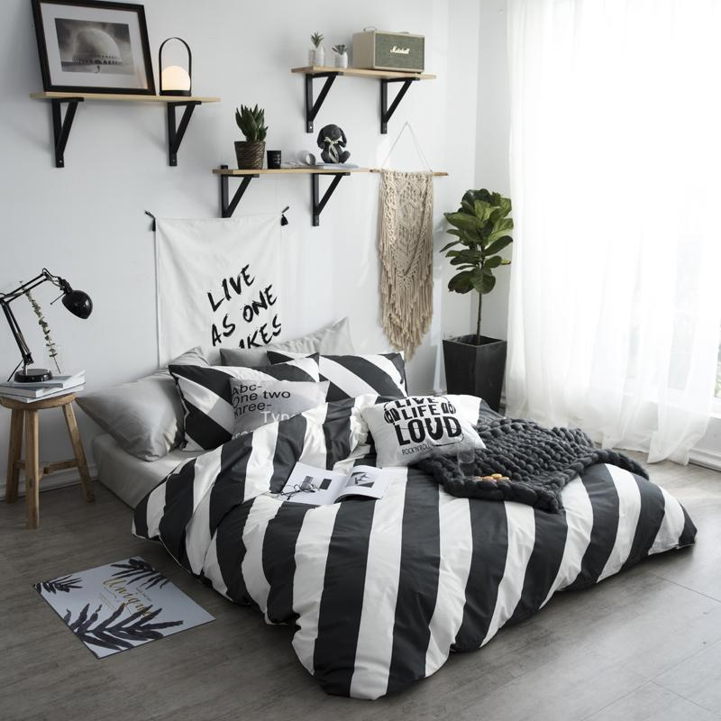 Black White Stripe Bedding Sets Twin Queen Size Single Double Bed
