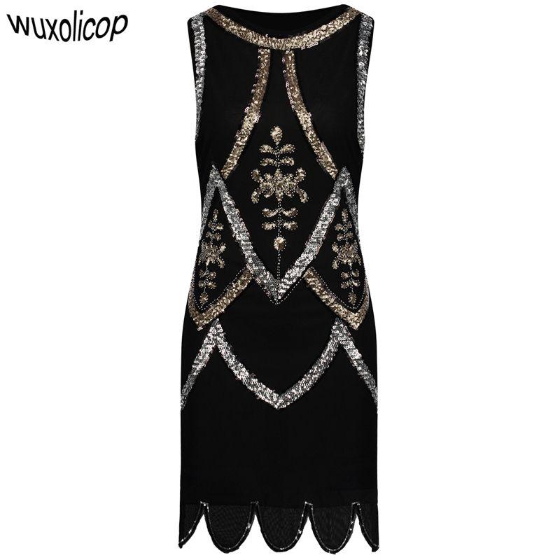 2019 Women Little Black Dress 1920s Flapper Gatsby Charleston Sequin