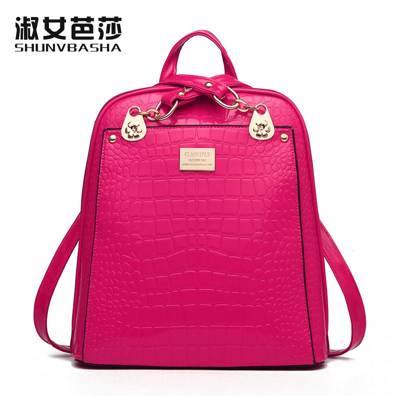 Wholesale 2018 Solid High Quality PU Leather Backpack Women Designer School  Bags For Teenagers Girls Luxury Women Backpacks Wheeled Backpacks Leather  ... bbb9ee5896075