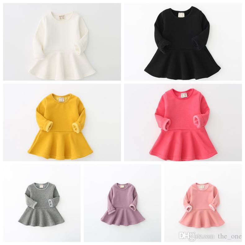 174c56ff9 2019 Autumn Winter Baby Girl Dress Candy Color Long Sleeve Warm ...
