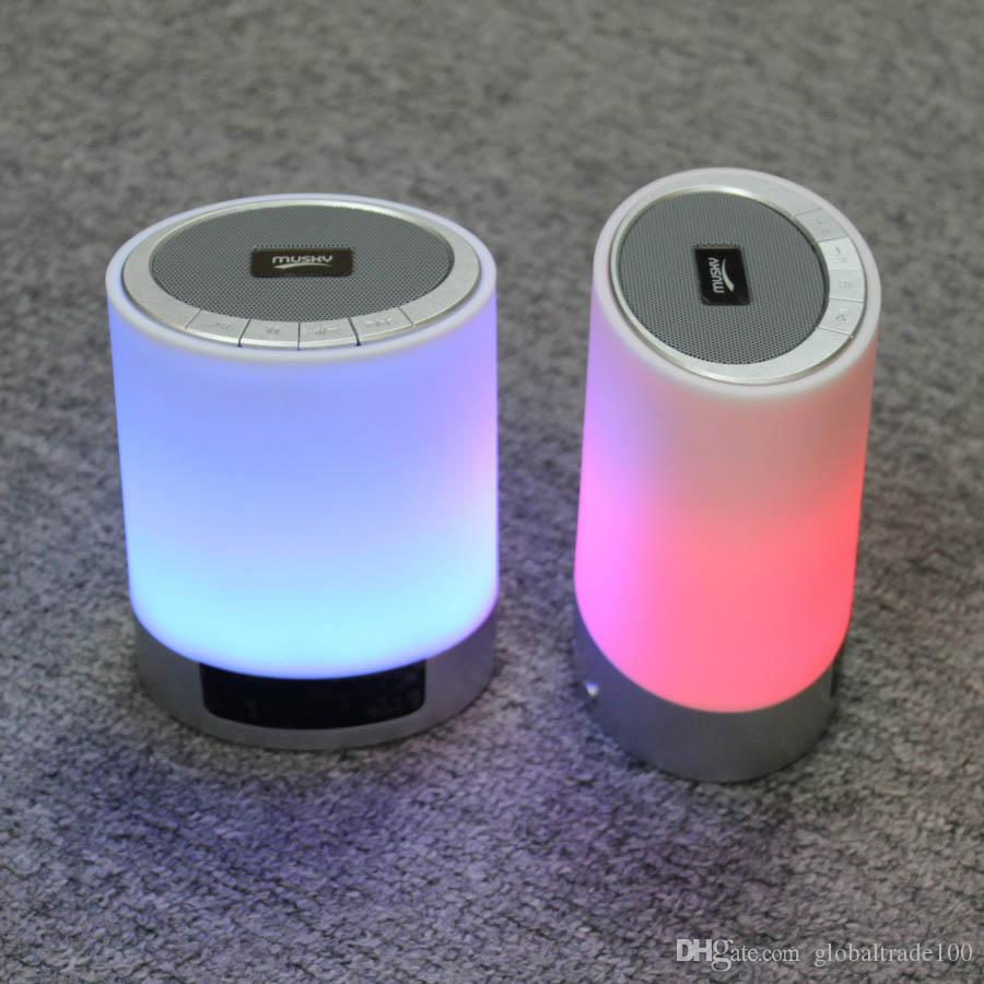 LED Night Lights Bluetooth Speaker With Alarm Clock TF Card AUX-IN Touch Sensor LED Bedside Lamp + Dimmable Warm Light & Color Changing DY29