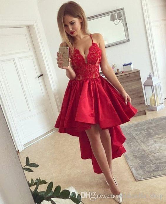 2018 Sexy Red Short Prom Dresses Spaghetti V Neck Backless High Low Lace Top Cocktail Home Coming Wear Mini Party Gowns