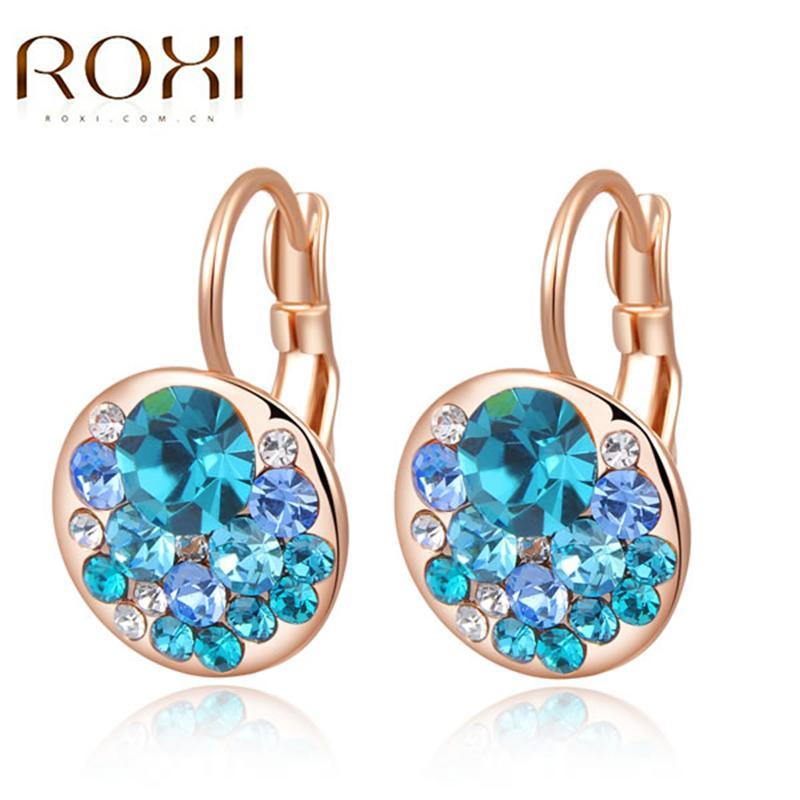 ROXI Femmes Boucles D'oreilles 2017 Déclaration Sexy Or Rose Bleu Cristal Boucles D'oreilles De Mariage Bijoux pour Femmes orecchini donna