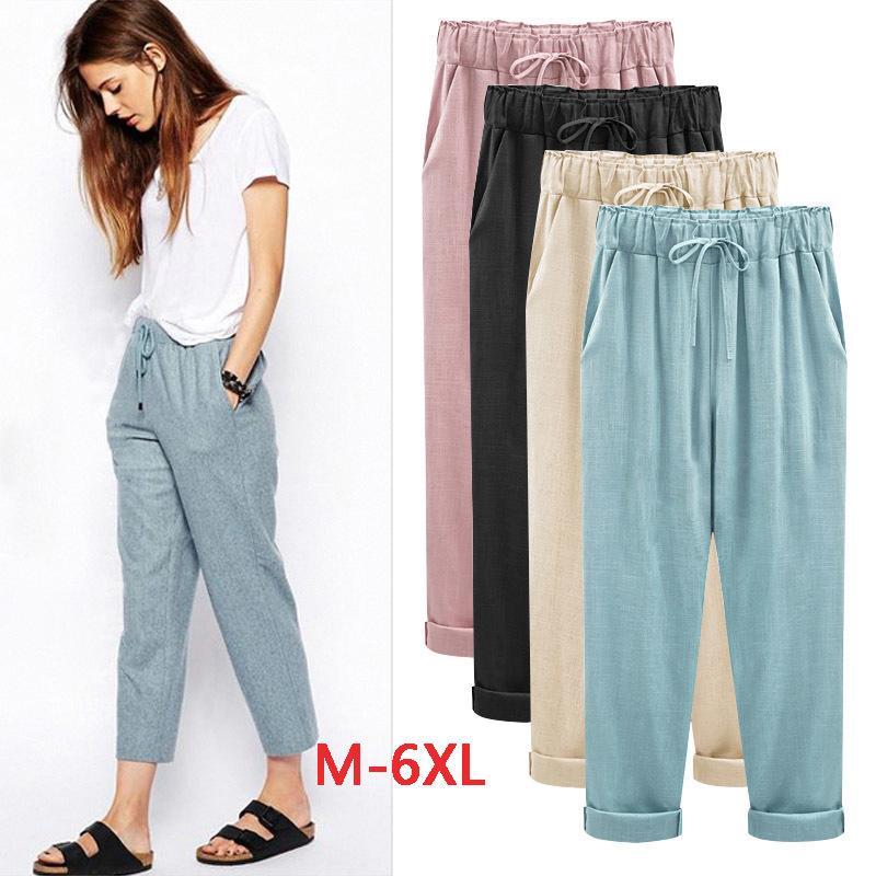 19e9d93fea7f 2019 Aikeec Plus Size M 4XL 5XL 6XL Pants Elastic High Waist Solid Casual  Cotton Linen Ankle Length Thin Women Fashion C18110901 From Shen8407