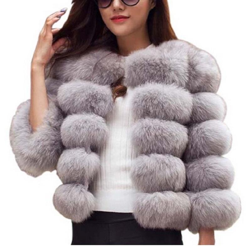 Naiveroo Fluffy Faux Fur Coat Jacket Women Short Thick Furry Fake Fur Winter Outerwear Coat 2018 Autumn Overcoat Plus Size 3XL C18111401