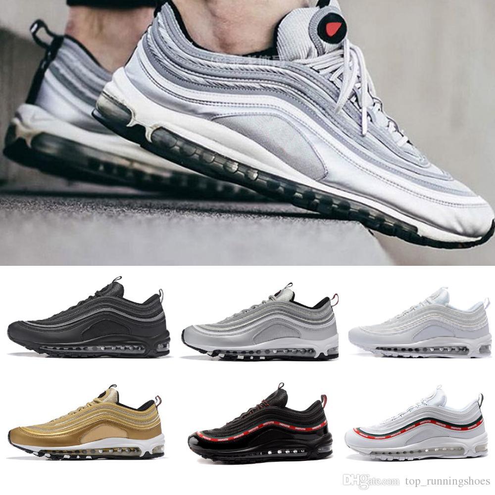 40fe9bc2c9d Compre Venda Quente 97 Sapatos Triplo Branco Preto Rosa Running Shoes Og  Metálico Ouro Prata Bala Mens Trainer Mulheres Sports Shoes Tênis Tamanho  36 46 De ...