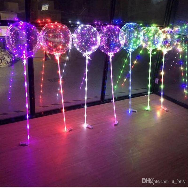 Luminous LED Balloons With Stick Lighted Up Balloon Kids Toy Birthday Party Wedding Decorations