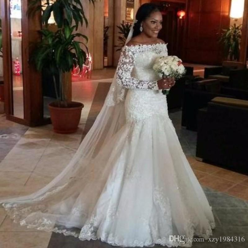 c956cb317ee Glamorous South African Wedding Dresses Long Sleeves Off Shoulder Lace  Appliques Mermaid Bridal Dress Fashion Tulle Beach Wedding Dress Bride Dress  Designer ...