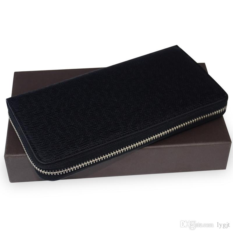 Frau Damen beste Qualität berühmte Marke langen Reißverschluss aus echtem Leder Männer Brieftasche aus echtem Leder Frauen Geldbörse mit Box-Karte
