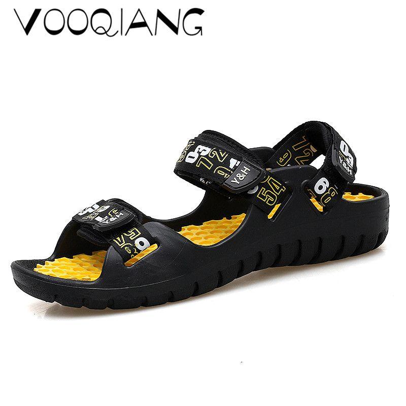 a0eb79ecd1ac4 Men Sandals Men Beach Sandals Sneakers Buckle Shoes Slippers Massage Flip  Flops Genuine Split Leather Sapatos Masculino Knee High Gladiator Sandals  Sandals ...