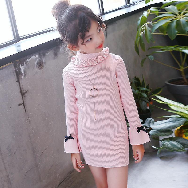 High neck knitted girl sweater dress kids clothes long sleeve knitted red black white autumn winter kids sweater knit spring