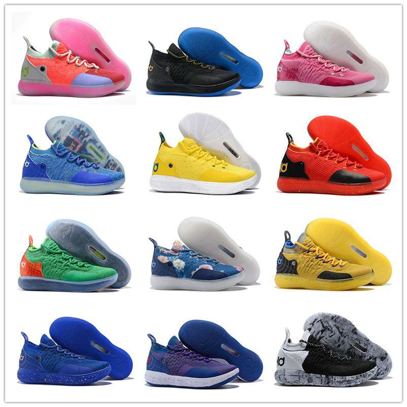 huge discount 825c2 8a1fa Compre 2018 Alta Calidad Kevin Durant XI Inicio Amarillo Azul Rainbow  Baloncesto Zapatos Deportivos KD 11 Mens Zapatillas KD11 11s Athletic  Zapatillas ...
