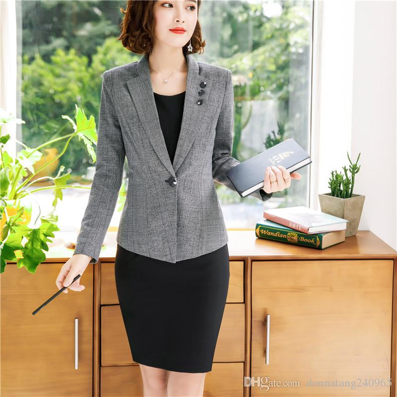 c4cb3616e8595 2019 New Fashion Women Formal Dress Suits OL Slim Long Sleeve Blazer With  Sleeveless Dress Office Ladies Plus Size Work Wear From Donnatang240965