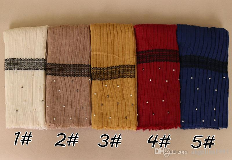 Laven high quality ladies cotton lace beads cotton viscose shawls muslim pearl wrap headband scarves/scarf 180*70cm