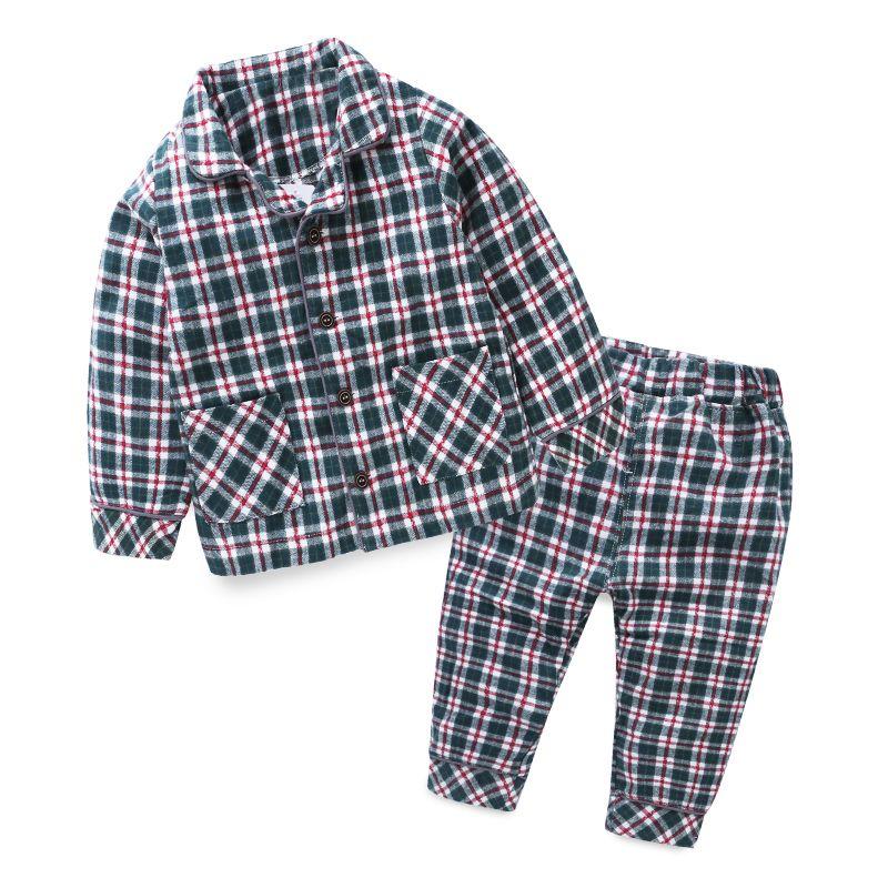 mudkingdom baby boys girls cotton plaid pajamas sets kids full length home clothes autumn turn down collar children clothing boy christmas pajamas pjs for - Plaid Christmas Pajamas