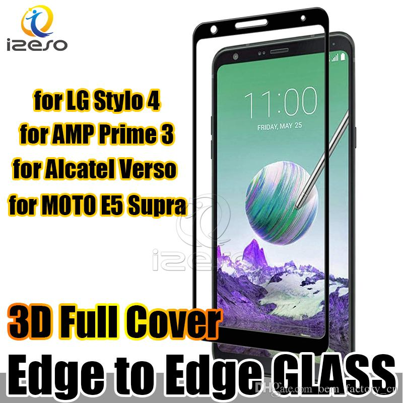 For LG Stylo 4 Full Cover Curved Tempered Glass Screen Protector for G7 Q7  Galaxy AMP Prime 3 MOTO X5 Alcatel HTC iPhone