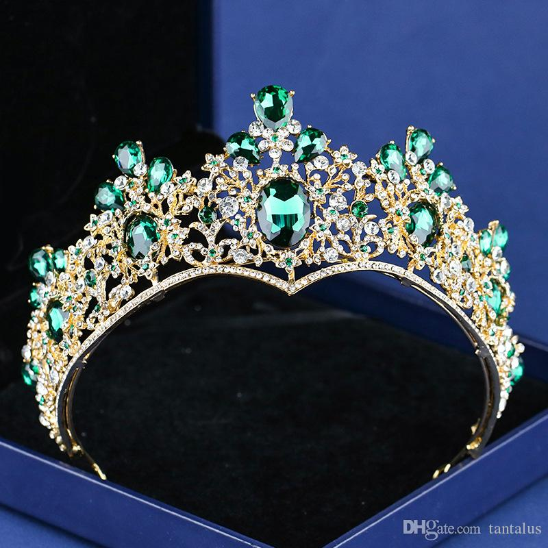 2019 Baroque Vintage Gold Green Crystal Crown Wedding Tiara Rhinestone  Pageant Prom Crowns Bride Headbands Women Hair Accessories From Tantalus 53839c4a5a02