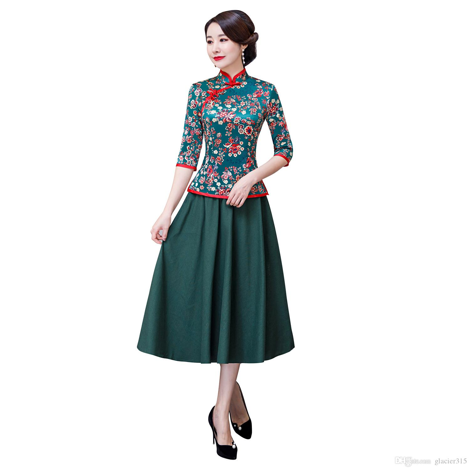 6c219b7b4 Shanghai Story Floral Chinese Traditional Clothing Set Green 3/4 Sleeve Faux  Silk Chinese Cheongsam Top + Skirt Chinese Clothing for Women
