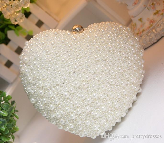 Amazing Full Pearls Beaded Heart Bridal Hand Bags ivory Wedding Handbags 2019 One Shoulder Crutch Evening Bags Ladies Hand Bag Cheap