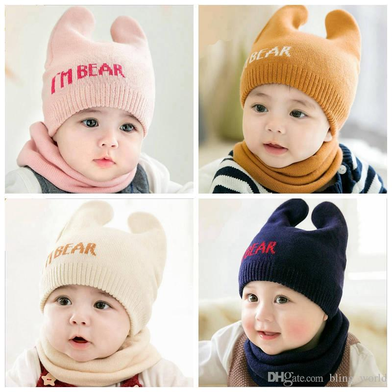 366f268a08f 2019 Baby Hats Neckerchief Set Infant Children Cute Little Bear Knit Cap  Scarf Suit Girls Outdoor Hat Boys Fashion Beanie Designer Outfits YL499 From  ...
