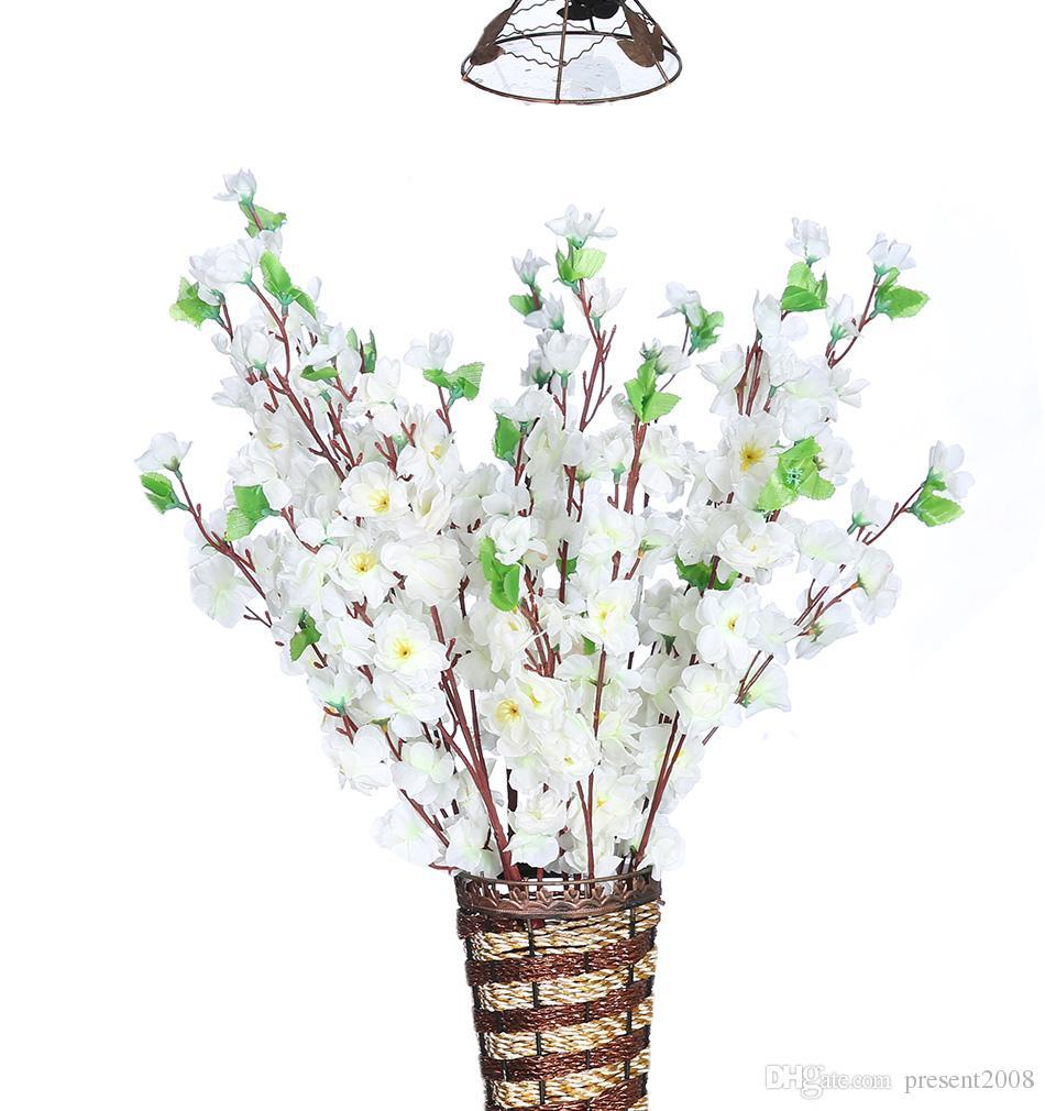 Artificial Peach Cherry Blossom 65cm Silk Fake Flowers Home Wedding